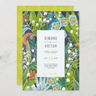 Botanical Green Lilly of the Valley Floral Wedding Invitation