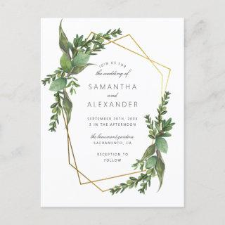 Botanical Greenery & Gold Geometric Wedding Invitation Postcard