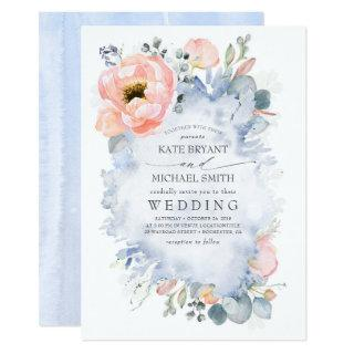 Botanical Peach Flowers Dusty Blue Wedding Invitation