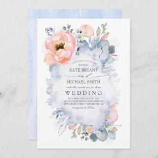 Botanical Peach Flowers Dusty Blue Wedding Invitations