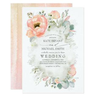 Botanical Peach Flowers Elegant Garden Wedding Invitations