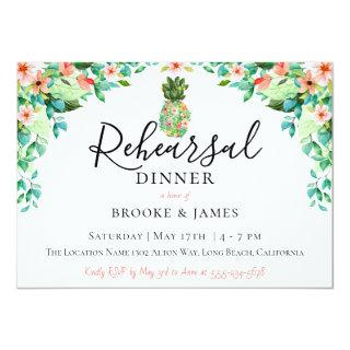 Botanical Pineapple Rehearsal Dinner Invitations