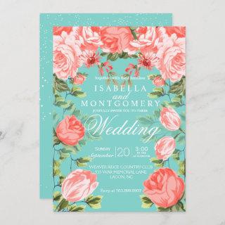 Botanical  Pretty Teal and Coral Floral Wedding Invitations