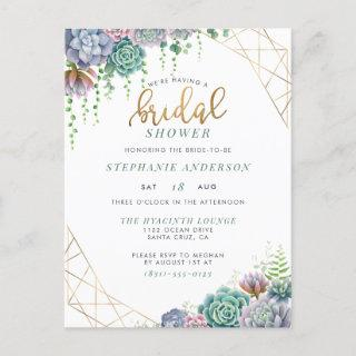 Botanical Succulents & Gold Script Bridal Shower Invitations Postcard