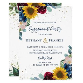 Botanical Sunflower Floral Engagement Party Invitation