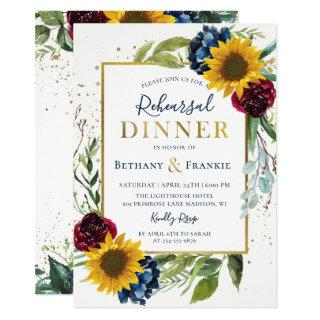 Botanical Sunflower Floral Rehearsal Dinner Invitations