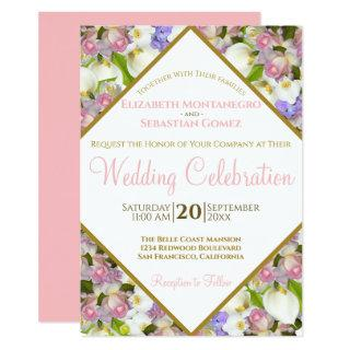 Bounty of Pastel Flowers Diamond Frame Wedding Invitation