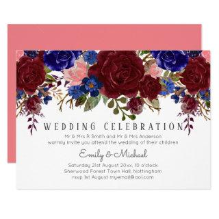 Bouquet Marsala Navy Blue Pink Floral WEDDING Invitation