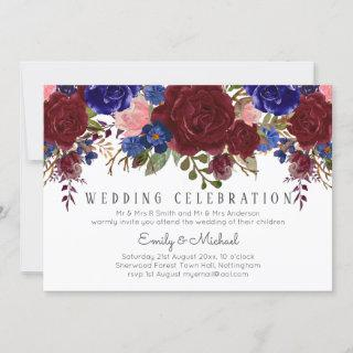 Bouquet Marsala Navy Blue Pink Floral WEDDING Invitations