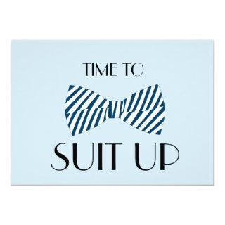 Bow Tie Time To Suit Up Groomsman Invitation Card