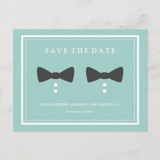 Bow Ties  - Gay Wedding Save the Date Announcement Postcard