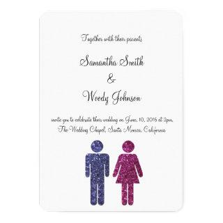 Boy & Girl in Glitter Invitations
