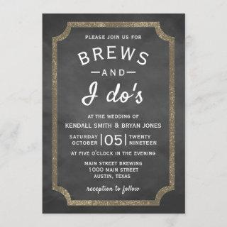 Brews and I Do's Brewery Chalkboard Wedding Invitation