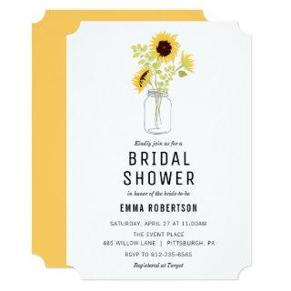 Bridal Brunch Sunflower Bouquet Shower Invitations