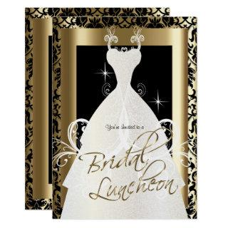 Bridal Luncheon in Black Damask & Metallic Gold Invitation