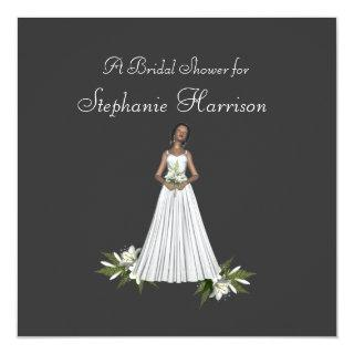 """Bridal Shower"" African-Amer Bride [2b] Lily White Invitation"