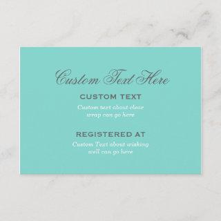 Bridal Shower | Aqua Blue Wedding Enclosure Card