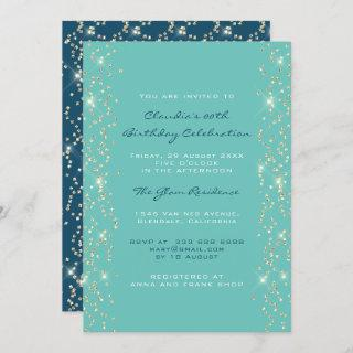 Bridal Shower Birthday Coral Confetti Blue Invitations