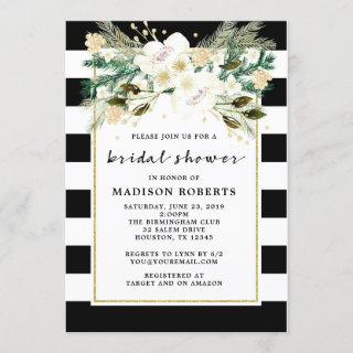 Bridal Shower Black and White Stripes Flowers Invitation
