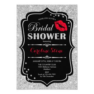 Bridal Shower - Black Red Silver Invitations