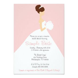 Bridal Shower Brown Hair Bride Invitation