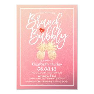 Bridal Shower Brunch Bubbly Gold Pineapple Couple Invitation