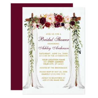 Bridal Shower Burgundy Floral Canopy Gold Invitations
