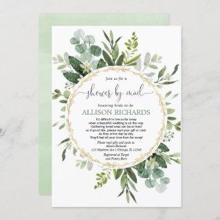 Bridal shower by mail greenery gold eucalyptus Invitations