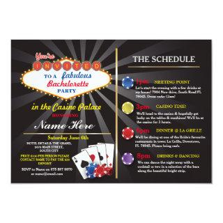 Bridal Shower Casino Vegas Itinerary Bachelorette Invitations