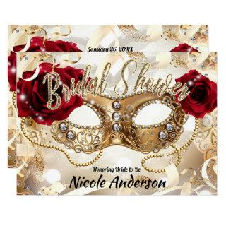 Bridal Shower Cream Gold Red Roses Masquerade Invitations