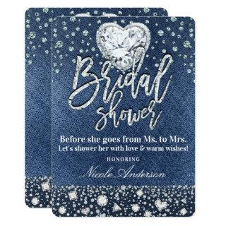 Bridal Shower Denim & Bling Diamonds Heart Invitation