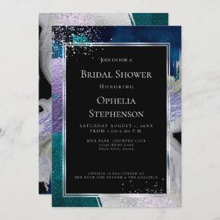 BRIDAL SHOWER | Elegant Bold Teal Lilac Abstract Invitation