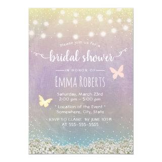 Bridal Shower Elegant Watercolor Butterfly Floral Invitations