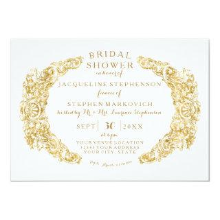 Bridal Shower Engraved Floral Acanthus Gold Leaf Invitations