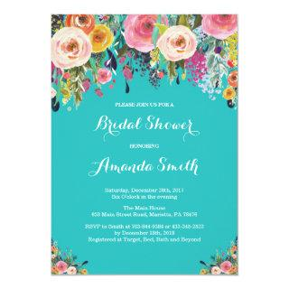 Bridal Shower Floral Flowers Teal Turquoise Aqua Invitations