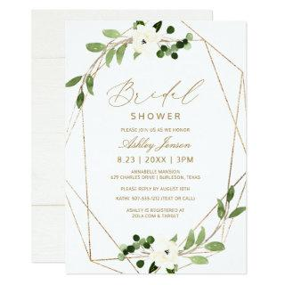 Bridal Shower Geometric Greenery Vines Watercolor Invitation