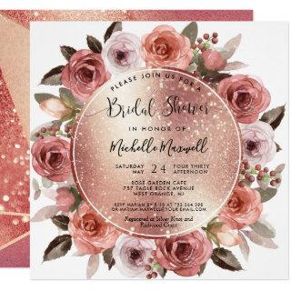 Bridal Shower, Geometrical Rose Gold, Blush Floral Invitation