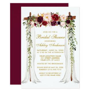 Bridal Shower Gold Burgundy Floral Canopy Invitations