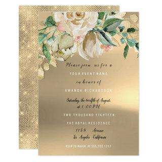 Bridal Shower Gold Mint Paint Flower Watercolor Invitations