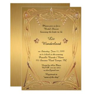 Bridal Shower Honoring, great Gatsby, GOLD Invitations