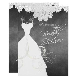 Bridal Shower in Chalkboard & White Lace Invitation