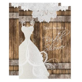 Bridal  👰 Shower in Rustic Wood and Lace  💕 Invitations