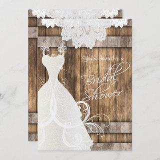 Bridal  👰 Shower in Rustic Wood and Lace  💕 Invitation