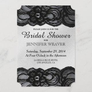 Bridal Shower Invitations Black Lace and Satin