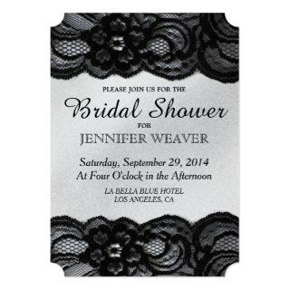 Bridal Shower Invitation Black Lace and Satin