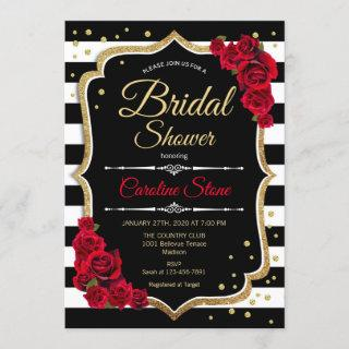 Bridal Shower Invitation Black White Stripes Roses