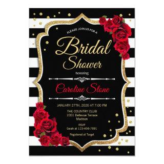 Bridal Shower Invitations Black White Stripes Roses