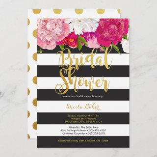 Bridal Shower Invitations - Floral Black White