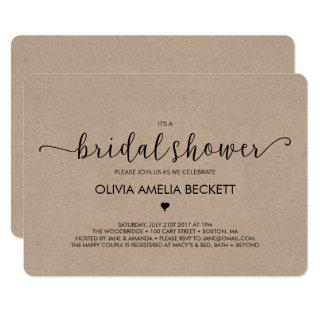 Bridal Shower Invitations - Kraft