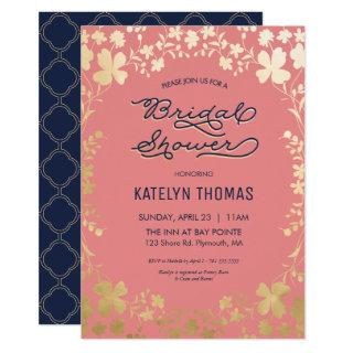 Bridal Shower Invitations, Navy, Coral, Gold Floral Invitations